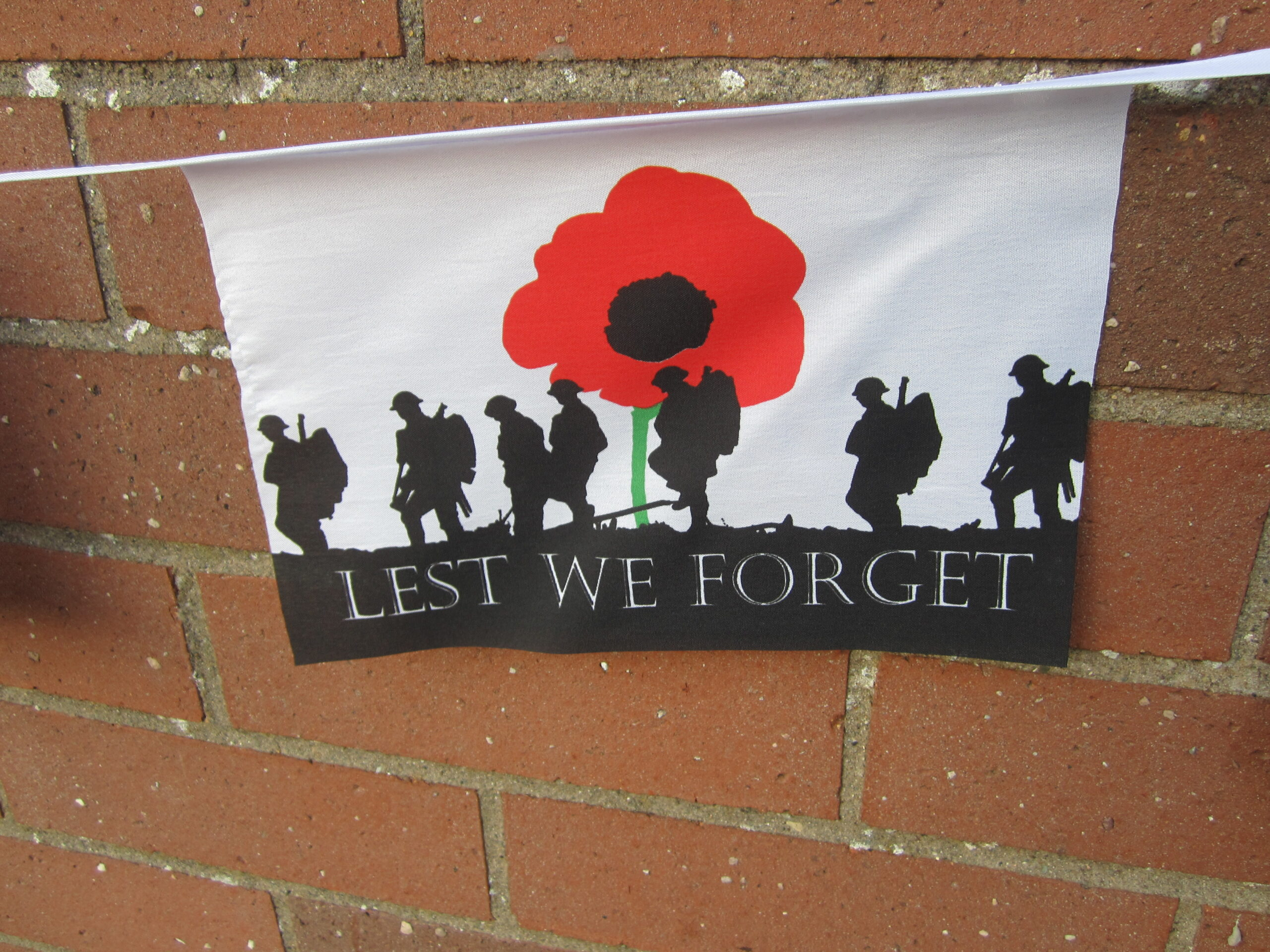 closeup of the remembrance bunting
